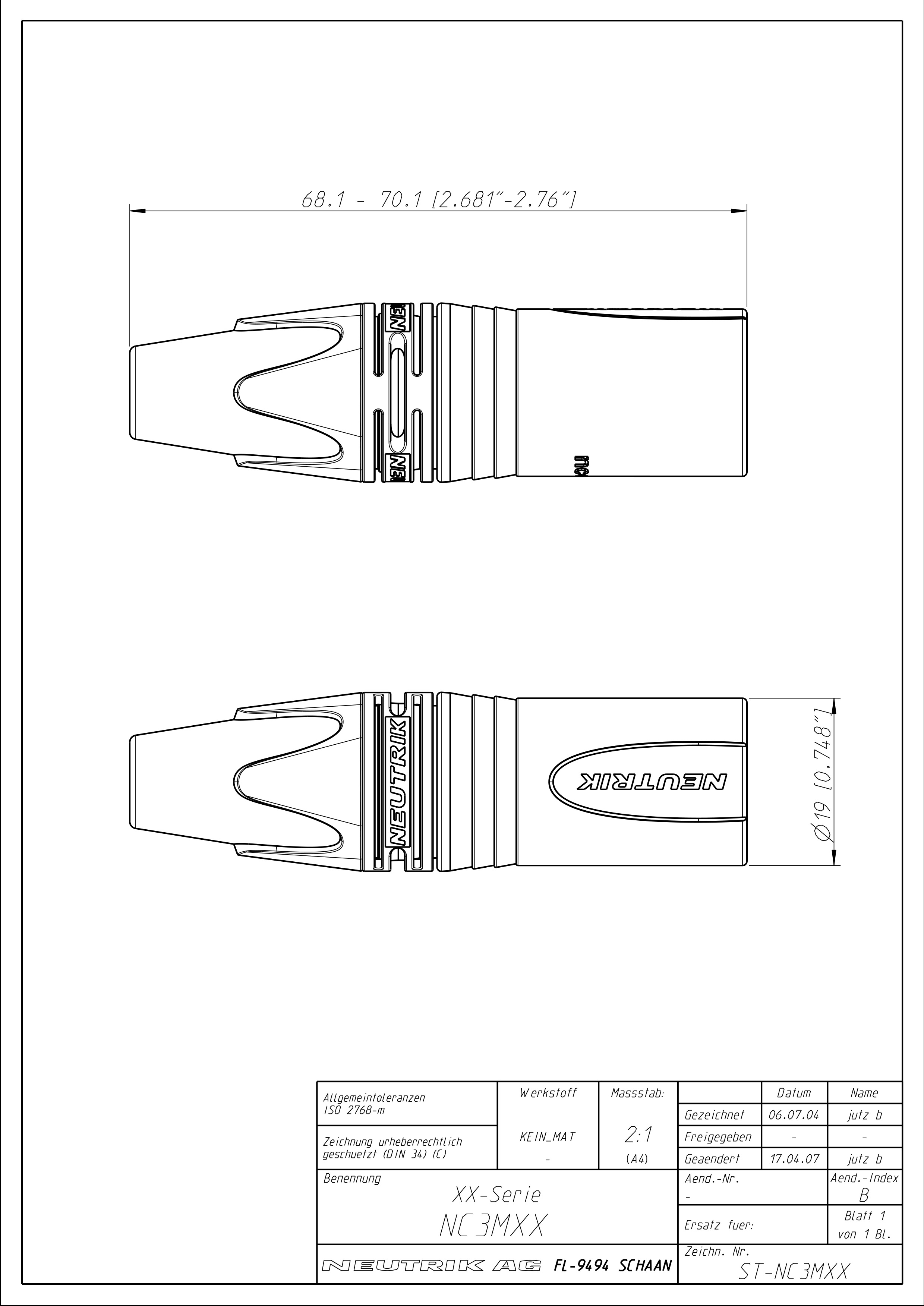 Neutrik NC3MXX-B 3 Pole Male XLR Cable Connector Black/Gold on