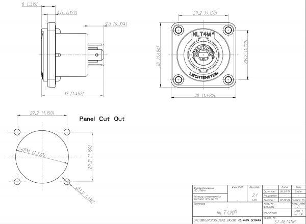 Neutrik NLT4MP 4 Pole Metal Chassis Mount Speaker Connector