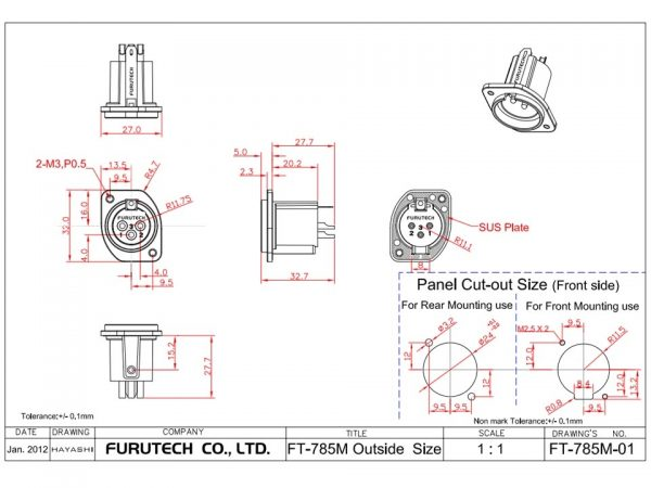 Furutech FT-785M G Gold Plated Chassis XLR connector