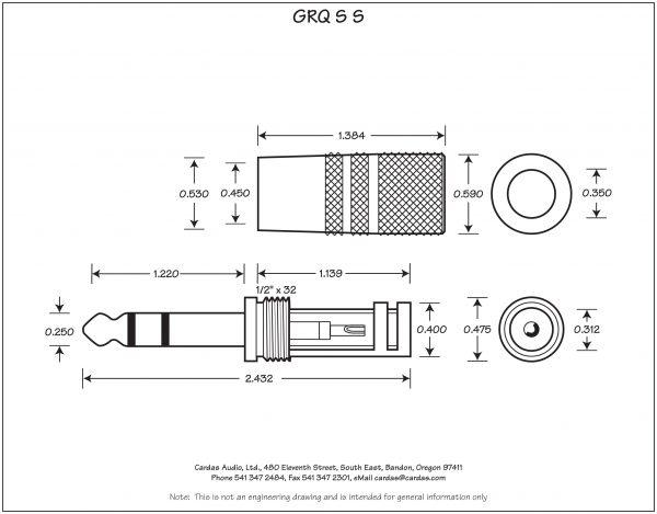 "Cardas GRQ S S 1/4"" TRS Stereo Phono Plug"