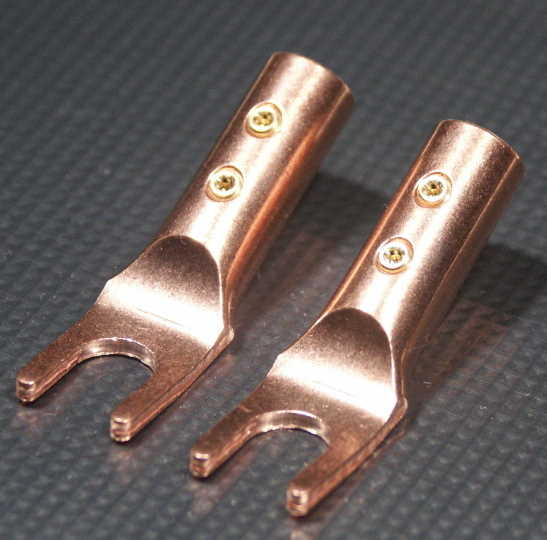 Furez SP8 SB60NP Bare Copper Spade Speaker Connectors Pair