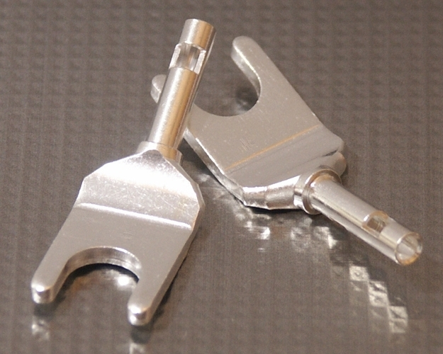 Furez SP8 W25Ag Silver Plated Copper Spade Connectors Pair