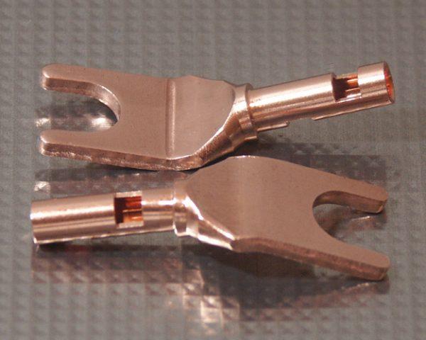 Furez SP8 W38NP Bare Copper Spade Speaker Connectors Pair