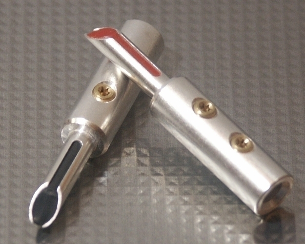 Furez TSTSB40Ag Silver Plated Copper Banana Plug Connectors Pair